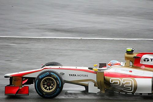 Narain Karthikeyan's HRT in Silverstone