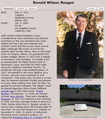 Ronald Reagan Find a Grave Memorial - Teach Me Genealogy (Teach Me Genealogy :)) Tags: grave memorial genealogy ancestors find