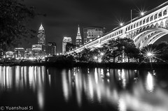 Cleveland Night/ (Yuanshuai(TIM) Si) Tags: city bridge ohio bw white black tower skyline architecture forest buildings river lens photography memorial key long exposure downtown skyscrapers angle flat pentax district united si cleveland detroit wide superior da cuyahoga states veteran  smc   k5           yuanshuai  pentaxart dashuai