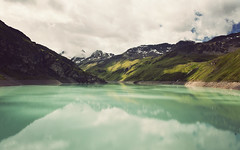 This is Switzerland (Raphal Dupertuis) Tags: travel lake clouds switzerland europe dam lac barrage valais moiry