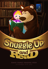 Snuggle Up and Read Poster (ben.bibikov) Tags: bear brown cute girl smile up illustration poster snuggle gold reading book golden design big artwork child graphic library books read blanket cartoonish bibikovacom bibikova bibikov
