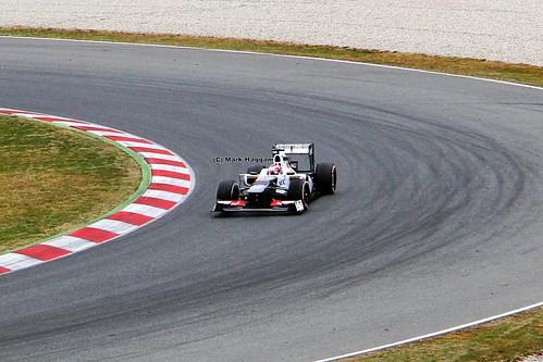 Kamui Kobayashi in his Sauber F1 car in Formula One Winter Testing, Circuit de Catalunya, March 2012