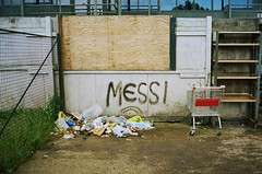Lionel, go and tidy up (deepstoat) Tags: barcelona street urban london mess rubbish contaxt3 messi kodakportra imguessingalotofamericanswillbemystifiedbythetitle