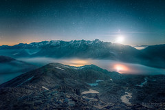 * Sidelhorn: Moonrise * (dmkdmkdmk) Tags: sunset moon mountain alps nature fog night clouds stars landscape switzerland evening nikon swiss peak glacier mount moonrise summit hdr d800 rhone grimsel passroad seaoffog sidelhorn sidelhorngrimselpassnachtsternemondmondaufgang