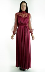 Victorian Inspired Burgundy Chiffon & Ornamental Lace Satin Gown Full Length Front 1 (mondas66) Tags: ruffles dress lace victorian chiffon dresses romantic gown elegant gowns ornate satin ornamental lacy sheer frilly elegance ruffle frills frill ruffled lacework frilled frilling frillings befrilled