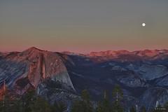 View From Sentinel Dome_01 (cheryl strahl) Tags: california sunset nationalpark hiking fullmoon moonrise yosemite halfdome hdr sentineldome