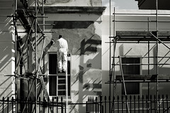 renovation, it's the name of the game (donvucl) Tags: street bw london scaffolding fuji shadows renovation workman donvucl x100s
