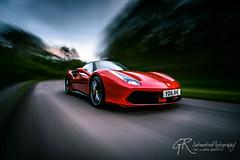 Rolling shot of the Ferrari 488 (GR1CreativeMedia) Tags: road red motion blur car night speed nikon fast automotive ferrari d750 supercar f4 sportscar 1635 488 hypercar rigshot