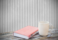 Notebook and coffee cup on wood table (DomDew_Studio) Tags: wood white blur texture cup coffee metal wall vintage paper notebook table book design wooden drink coffeecup metallic space blurred spoon retro note memory sheet concept woodtable
