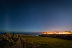 Dunedin city - full moon & weak aurora (five15design) Tags: ocean autumn sea newzealand sky storm fall water pacific harbour pacificocean southisland dunedin aotearoa mainland thefall latesummer otagoharbour nikonnz