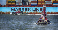 Two Tugs (PAJ880) Tags: new york nyc ny port harbor ship waterfront cargo container moran tugs maersk