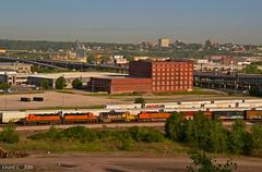 "Southbound Transfer in Kansas City, MO (""Righteous"" Grant G.) Tags: santa city railroad west yard power south railway missouri bottoms kansas locomotive fe transfer job bnsf southbound emd atsf"
