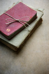 Books (borealnz) Tags: old red vintage book cookbook pile string recipes tied