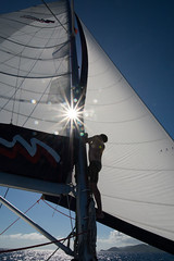 Sail's up (JSTAR377) Tags: vacation holiday water silhouette sailing adventure sail sunburst caribbean mast moorings