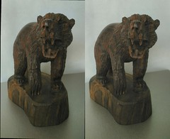 Carved Wooden Bear 2 3D Cross View (HDR) (JonGames) Tags: bear wood sculpture brown animal mexico wooden stereogram 3d cross carving carve grizzly chisel etch hdr