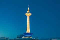 Kyoto Tower_1 (hans-johnson) Tags: blue sky tower japan architecture canon eos kyoto skies 京都 日本 nippon fullframe kansai nihon 京都タワー 関西 kyototower kinki タワー 京都駅 2470 karasuma キャノン 近畿 ジャパン vsco 5d3 5diii