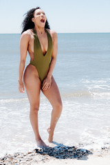 Cold Water! (l. a. nolan) Tags: ocean nyc newyorkcity woman ny newyork beach water outside outdoors sand day fuji photoshoot queens fujifilm newyorknewyork rockawaybeach theempirestate xpro2 fujifilmxpro2