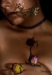 Behind flowers [Self-portrait] (TrishAngeliquePhotography) Tags: flowers portrait woman selfportrait colour girl beauty nude nose photography body interior lips autorretrato fotografa