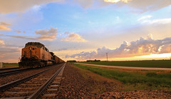 DP sunset (GLC 392) Tags: life railroad light sunset sky cloud storm up america evening illinois amazing open pacific farm space country union wide railway il dp fields late ge flagg rochelle dpu ac44cw cw44ac ac4400cw 6423