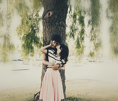 love me like the movies (Val C.B Photography) Tags: pink light sunset portrait love vintage kiss kissing couple soft dress pastel young