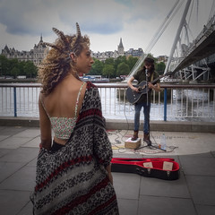 Beauty And The Beast (Mike Hewson) Tags: street city bridge urban london beauty square lumix town southbank panasonic busker busking gx8 streetsoflondon photo24 mirrorless micro43 microfourthirds leicadgsummilux leicasummilux15mm