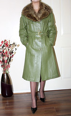 vintage green leather and fur mac for sale (sheerglamour) Tags: leather fetish tv mac heels mistress nylon pvc governess