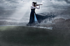 Black Serenade (Ian_Arneson) Tags: light portrait sky black beauty clouds dark photography nikon dress fineart creative surreal violin serenade d90 strobist