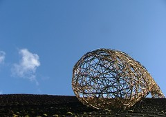 POD ON OXMARKET ROOF (Mark and Rebecca Ford Art Sculpture) Tags: show roof sculpture art living pod gallery westsussex exhibition willow woven southdowns aardvark chichester arttrail markford slindon southdownsnationalpark chichesterarttrail oxmarketgallery twocirclesdesign mobiledome arterialcytoplast bunniduck oxmarket2012
