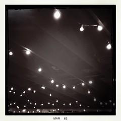 Strung Lights (Nicholas LaCroix Photography) Tags: blackandwhite bw night vintage square lights lomo lomography grill string macaroni iphone flomo hipstamatic