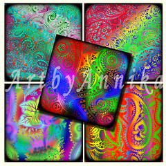 Digital Collage of Bright abstract paisley - 63 1x1 Inch Square JPG images (Kolinna) Tags: glass floral scrapbooking supplies paisley jewelrymaking greetingcards charmnecklace originaldrawing brightabstract digitalcollagesheet printablescrapbook brightpaisley printableflower pendantmagnet