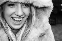 (Photography-MS) Tags: family portrait blackandwhite holiday selfportrait texture smile eyes teeth smiles makeup happiness fluff laugh blonde hood laughter tone sharpened maysimpson