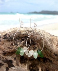 IMG_7560 (LindseysBeachGlass) Tags: blue sea white green beach glass colors leather silver hawaii wire aqua handmade teal jewelry clear bracelet hawaiian earrings seaglass rarecolor olibe