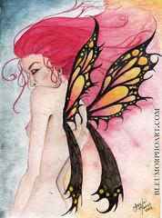 Firefly web (lilmslorelei) Tags: woman butterfly watercolor painting nude fire wings redhead flame fairy firefly faerie
