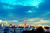 Day 172/366 : Tokyo Tower illuminated by the setting sun (hidesax) Tags: blue sunset sky cloud sun japan skyline tokyo nikon raw cityscape illuminated tokyotower roppongi nikkor setting minatoku hdr 5xp nikkor2470mmf28ged hidesax creative366project d800e nikond800e day172366tokyotowerilluminatedbythesettingsun