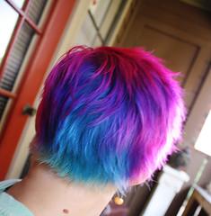hair cut/color (LoriPhillipsCeramics) Tags: hair shaved shorthair pinkhair bluehair coloredhair rainbowhair pixiehair