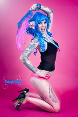 2 (TRASH Doll) Tags: pink blue model feathers tattoos burlesque bluehair pinup alternative inked tattooed trashdoll
