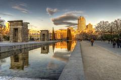 Atardecer en Madrid (Fil.ippo (AWAY)) Tags: madrid travel sunset reflection water atardecer temple nikon tramonto sigma viaggi hdr filippo templo debod tempio sigma1020 d7000 filippobianchi