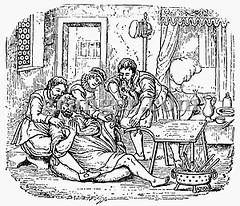 0011996 (Granger Historical Picture Archive) Tags: house men cut interior leg patient engraving medicine manual renaissance instruction woodcut injured scalpel amputee surgeon 1592