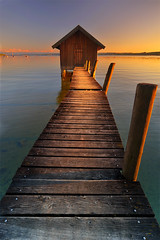 twilight boathouse (Dennis' Photography) Tags: sunset sun colors germany lens bavaria photography twilight nikon shiny angle dusk magic north wide sunny images shore hour getty dennis dslr ammersee ultra nord ende stegen utting d700 biederer