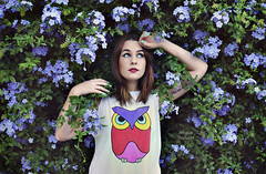 Hoot (Jessica Truscott) Tags: flowers bird nature girl petals purple owl dreamy