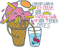 Cheery Garcia Ice-Cream (doublexuan) Tags: summer hot cup water glass illustration ink cherry hearts cherries funny warm drawing egg humor frenchfries fries icecream benandjerrys cheer sunnysideup icecreamcone cherrygarcia