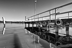 Acton Ferry Terminal (screenstreet) Tags: blackandwhite reflections canberra lakeburleygriffin actonpark tokina1116mmf28 silverefexpro actonferryterminal
