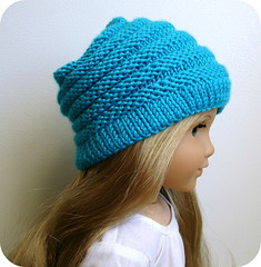 Sophie Slouchy Hat (Steph_Wylie) Tags: winter fall kids children toys child crafts handknit knittingpattern ag accessories etsy seamless americangirl intheround garterstitch dollclothes rubyred turquoiseblue sportweightyar