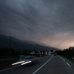 Back from the photowalk (Mr Din) Tags: road light motion blur cars clouds grenoble dawn focus long exposure motionblur longexp focusgrenoble saintvincentdemercuze