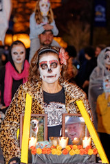 Woman in the Day of the Dead Parade, Missoula, 2012 (CT Young) Tags: dayofthedead montana day parade missoula 2012 missoulamt festivalofthedead canonef70300mmf456isusm dayofthedeadparade diadelosmuertosparade downtownmissoulaatnight