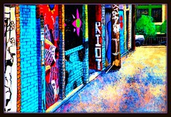 Clarion Alley (Rob Goldstein-Off/back to work) Tags: urban abstract color texture graffiti kid san francisco colorful artistic surrealism awesome rob cisco saturation clarion techniques goldstein photoprocessing