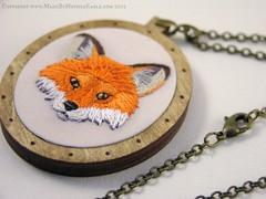 The Midwinter Fox Pendant, hand embroidery and birch wood (MotherEagle) Tags: animal woodland wooden necklace hand needlework handmade embroidery jewelry totem jewellery fox birch guide embroidered pendant vixen familiar antiquebrass poweranimal fibreart splitstitch mothereagle midwintercollection