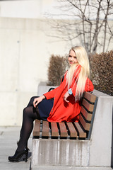 Sveta (Jevgens) Tags: red cute glass girl beauty smile sunglasses contrast bag walking mirror office tallinn shine wind coat blonde heels bubblegum handbag rayban beautyful