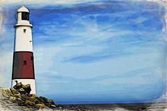 DSC00301-Portland-Bill-Lighthouse-Fluid-Moku-Hanga (Lex Photographic) Tags: digitalart dorset portlandbill dorsetpictures