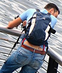 (ManontheStreet2day) Tags: camera boy ass belt butt tshirt twink jeans backpack bluejeans sag sagger